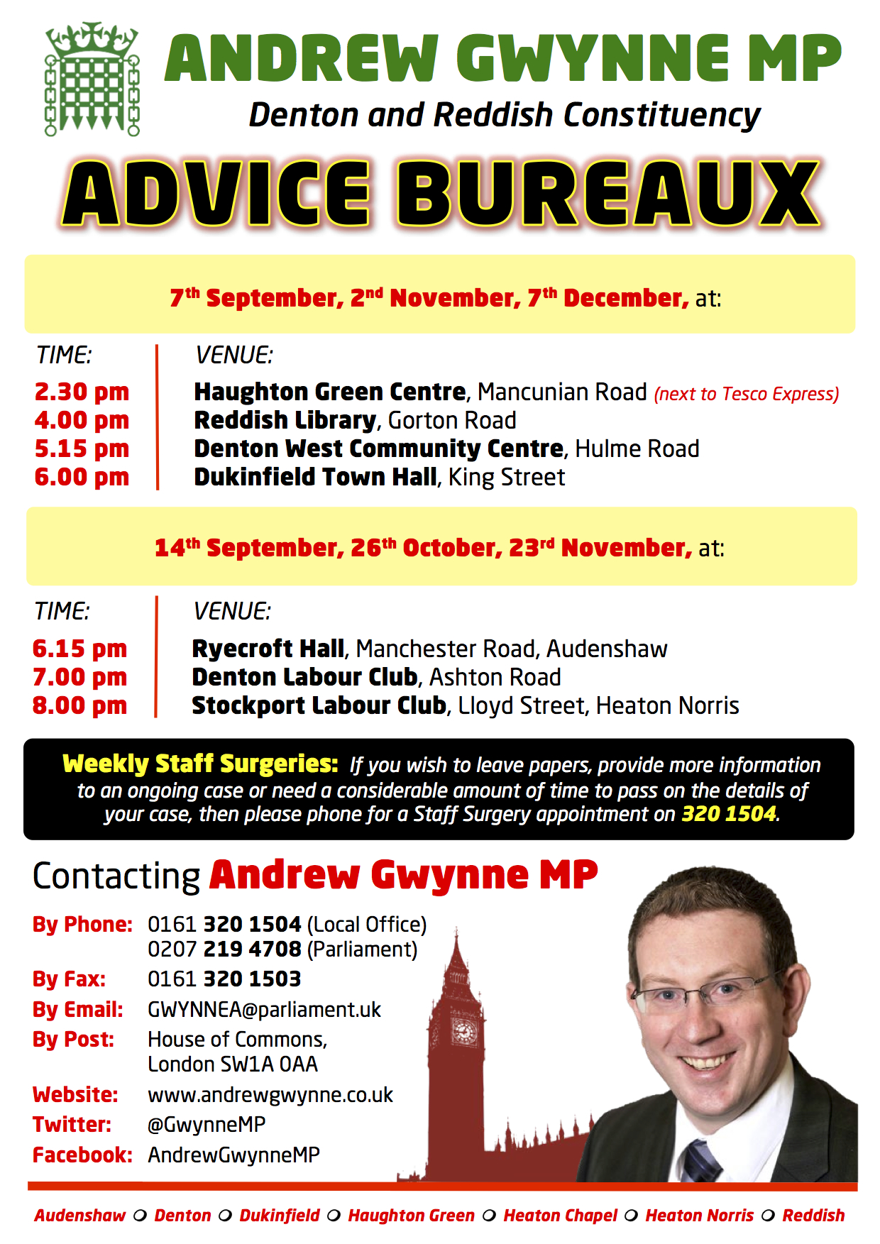 New Advice Bureaux dates announced