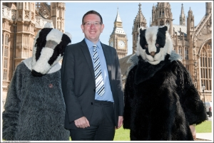 Andrew with badgers