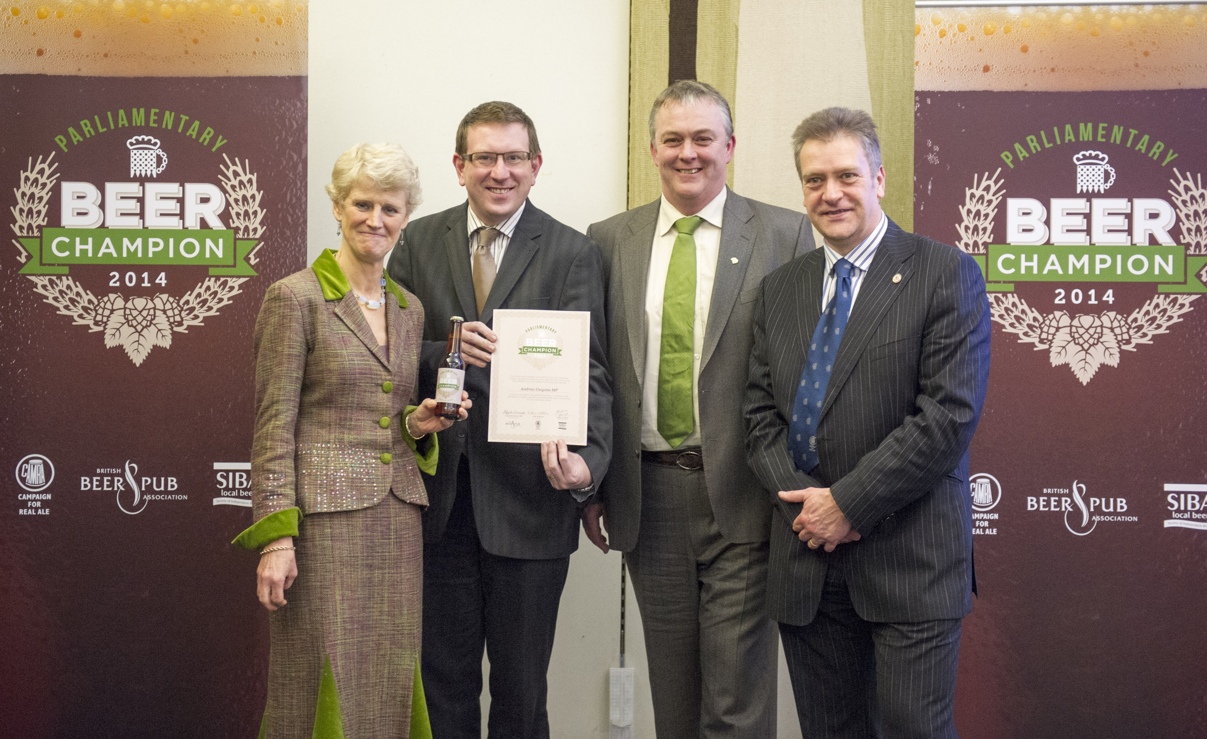 Andrew Gwynne MP with Brigid Simmonds OBE, BBPA; Keith Bott, SIBA and Colin Valentine, CAMRA