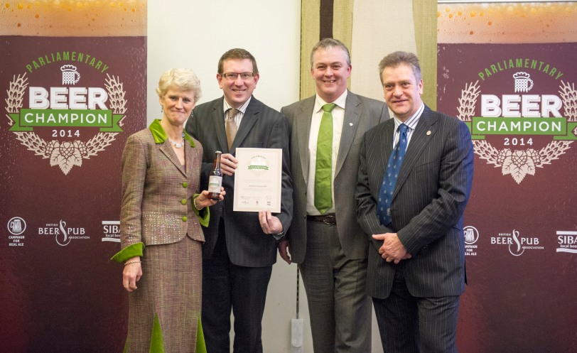 Andrew Gwynne MP with Brigid Simmonds OBE, BBPA; Keith Bott, SIBA and Colin Valentine, CAMRA