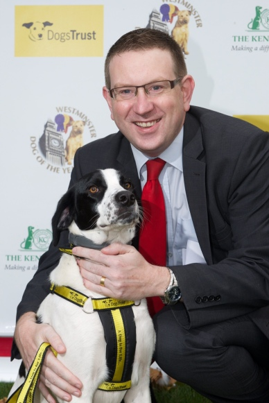 Andrew Gwynne and Tim (a rescue dog from Dogs Trust Essex)